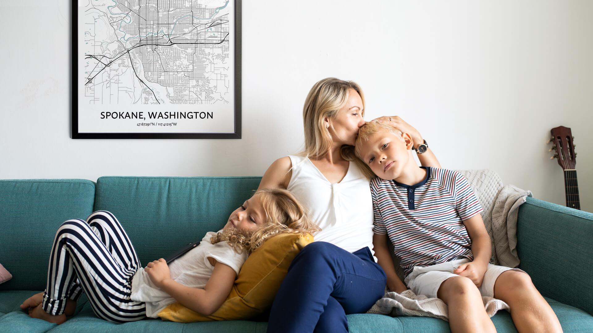 Spokane map poster