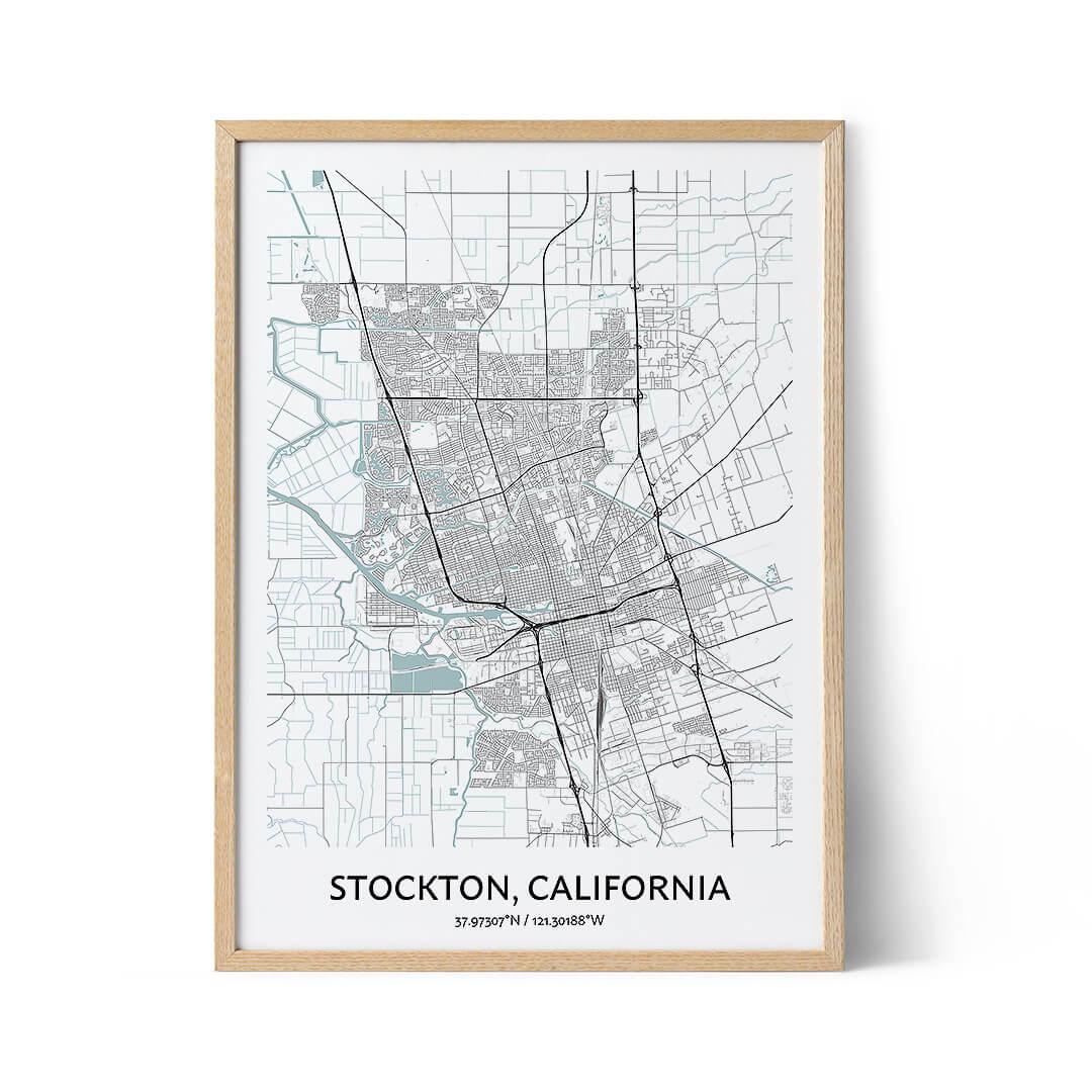 Stockton city map poster
