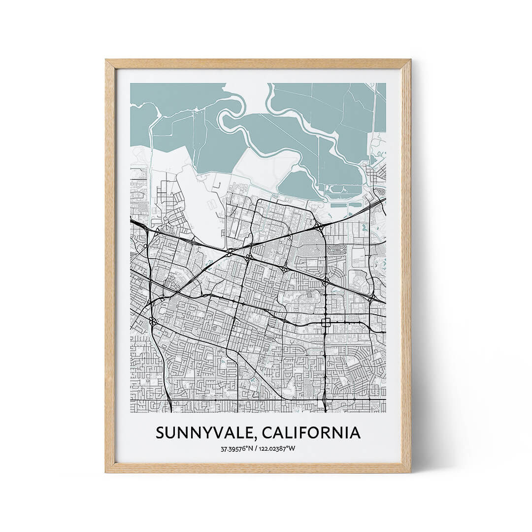 Sunnyvale city map poster