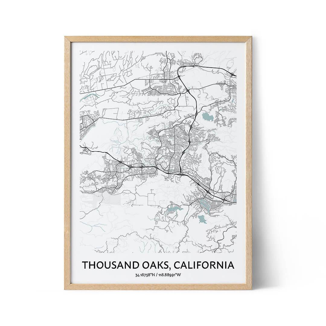 Thousand Oaks city map poster