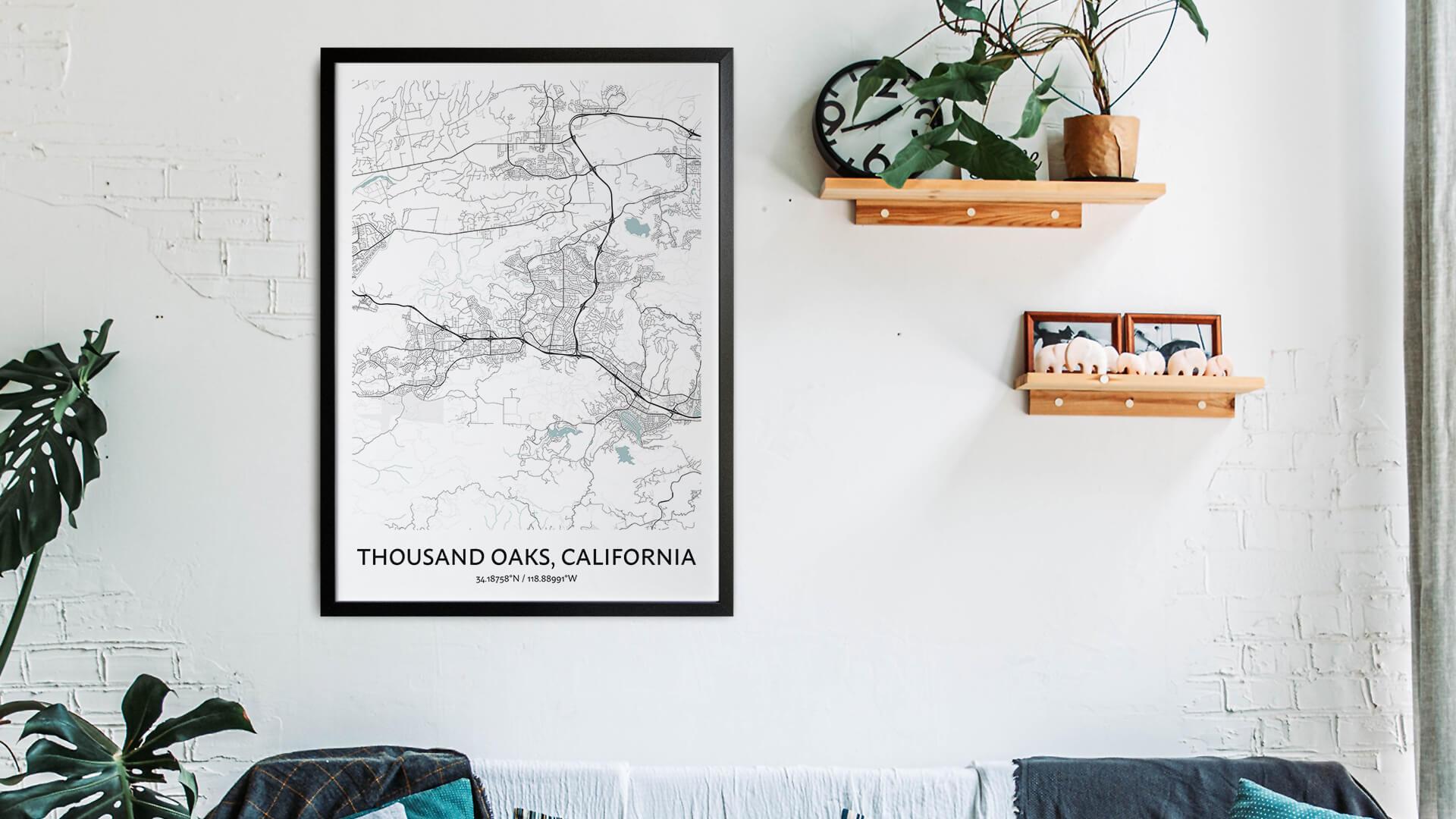 Thousand Oaks map art