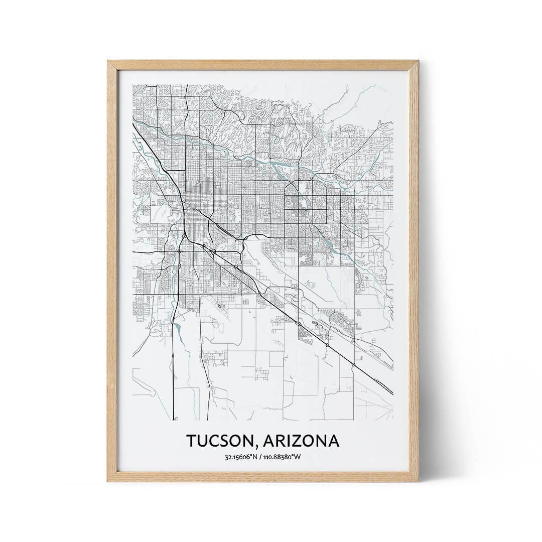 Tucson city map poster