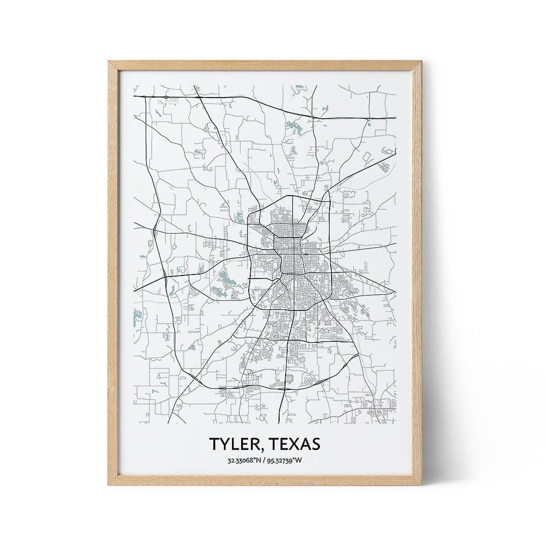 Tyler city map poster
