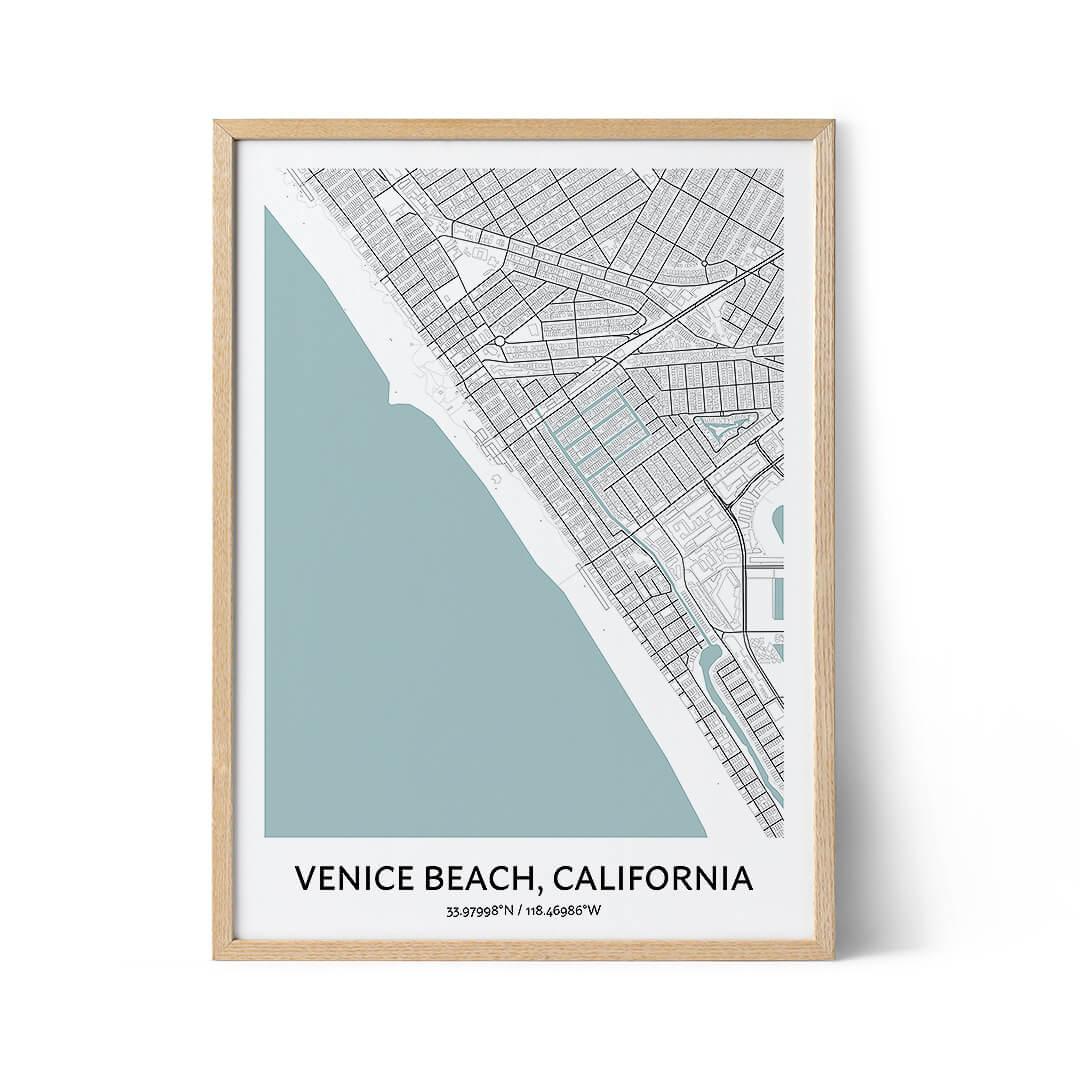 Venice Beach city map poster