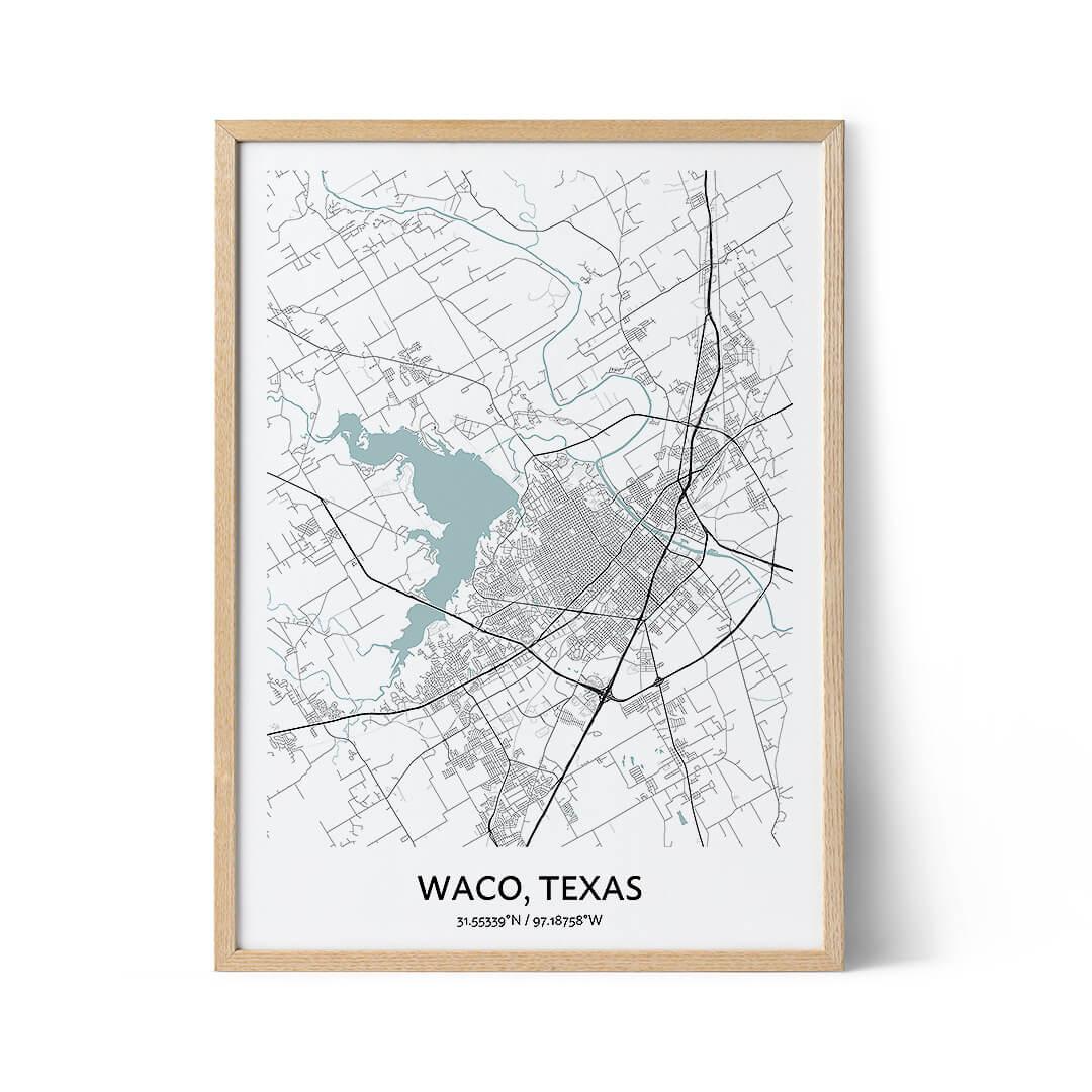 Waco city map poster