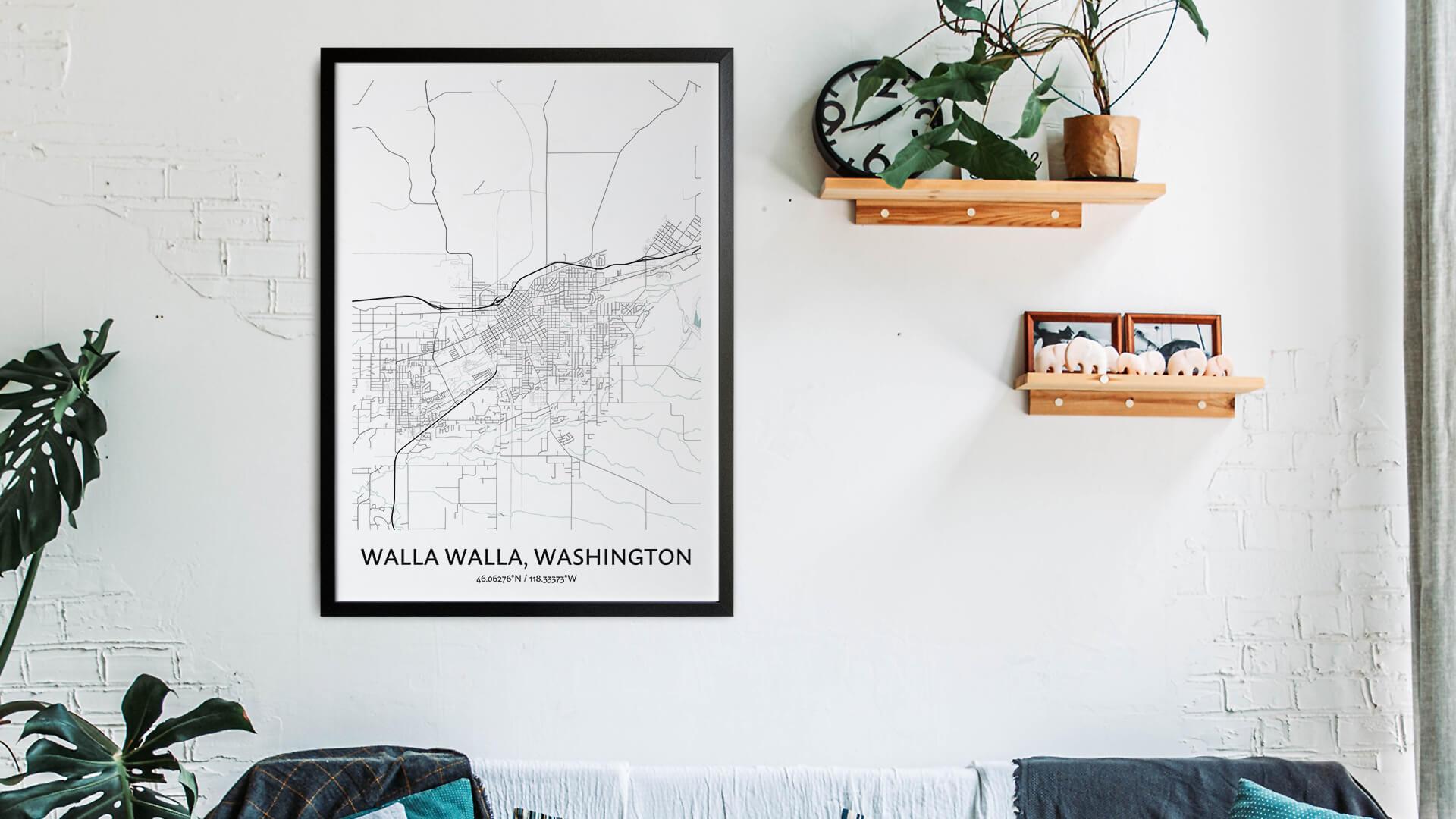 Walla Walla map art
