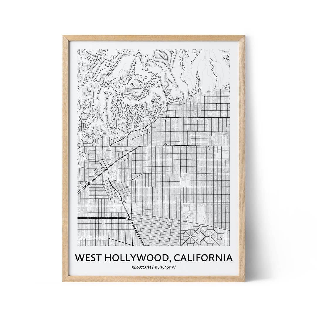 West Hollywood city map poster