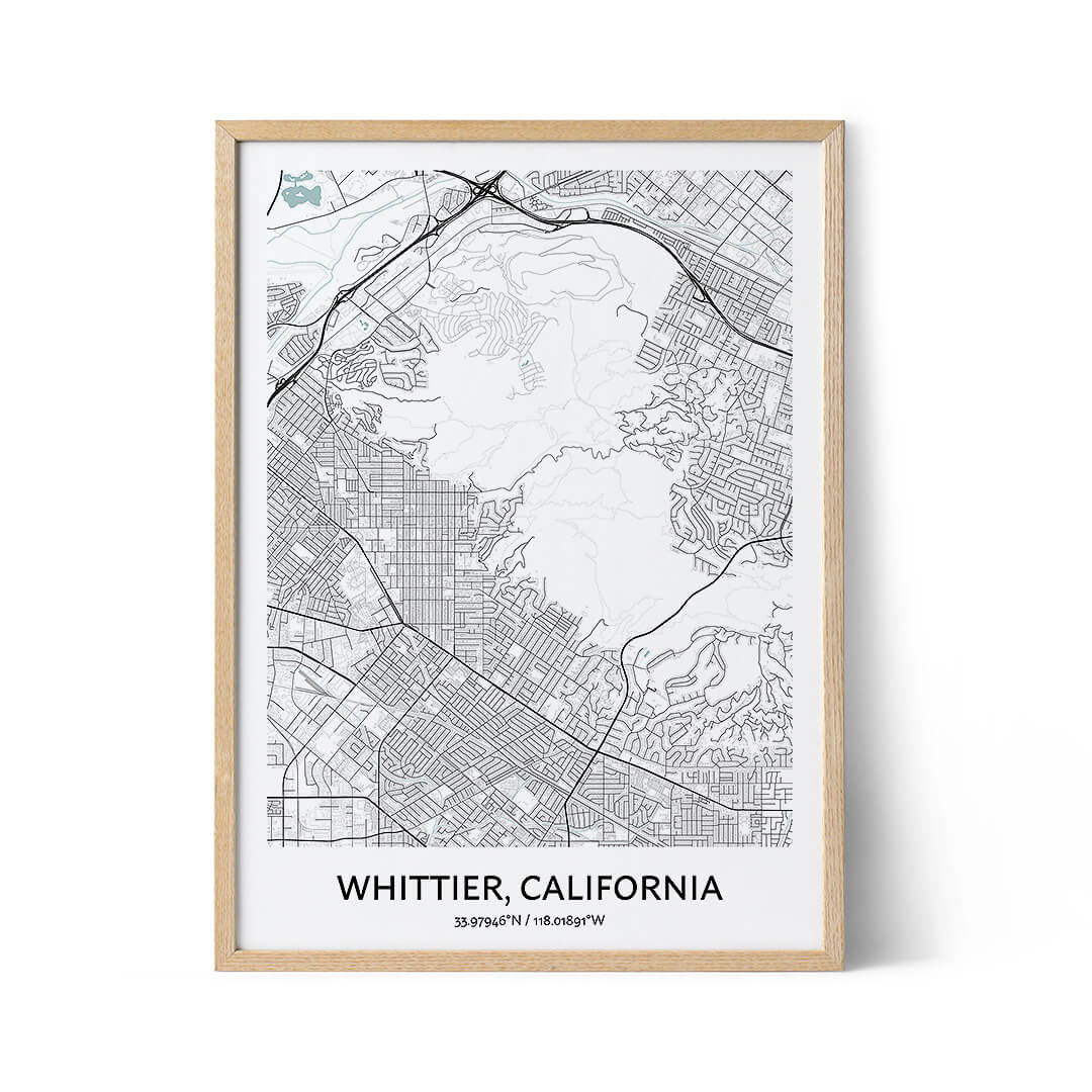 Whittier city map poster