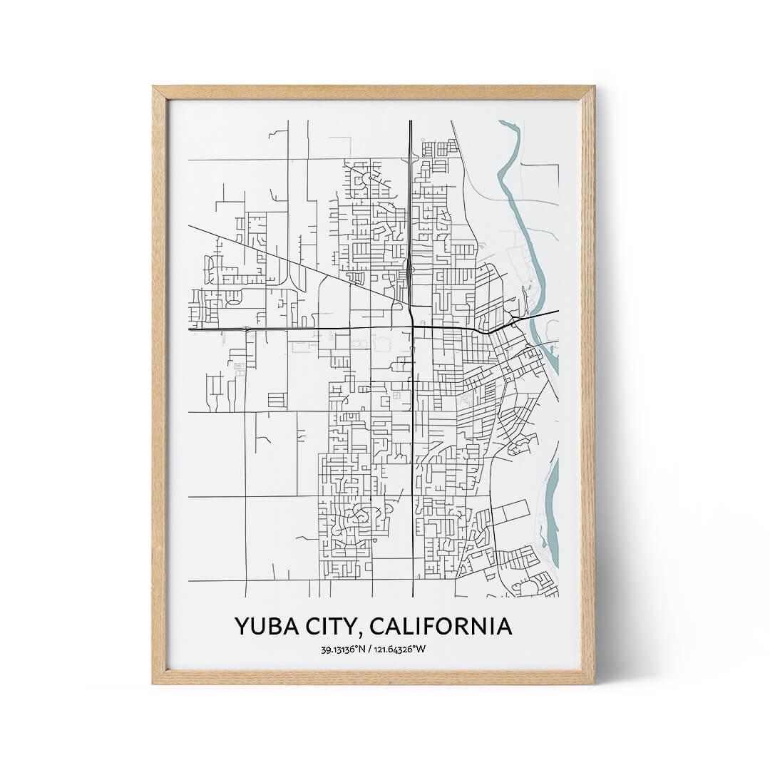 Yuba City city map poster