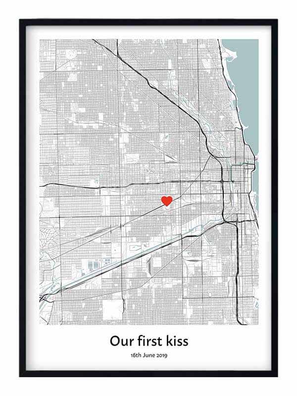 first kiss map gift