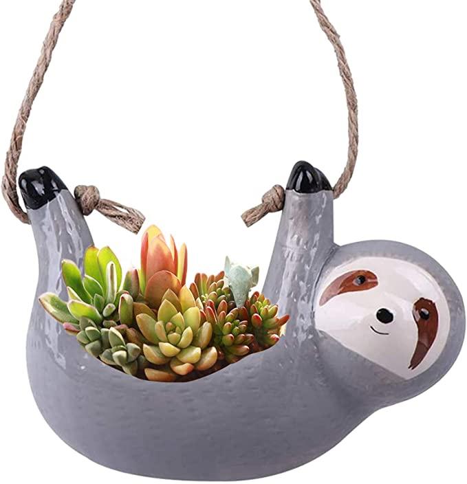 Ceramic Sloth Hanging Planter Pot