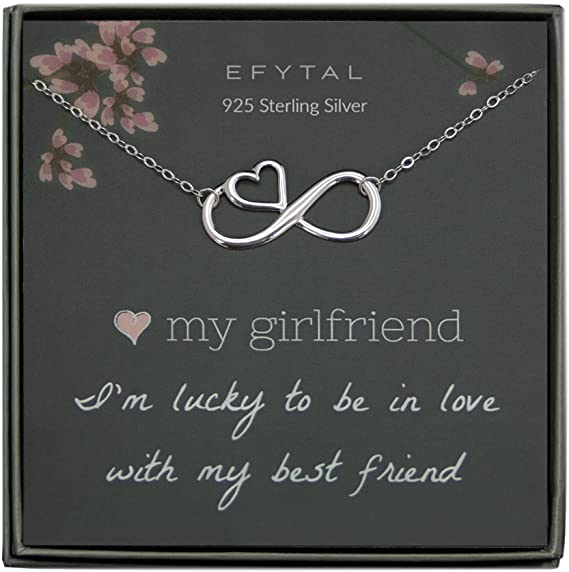Romantic Sterling Silver Infinity with Heart Necklace