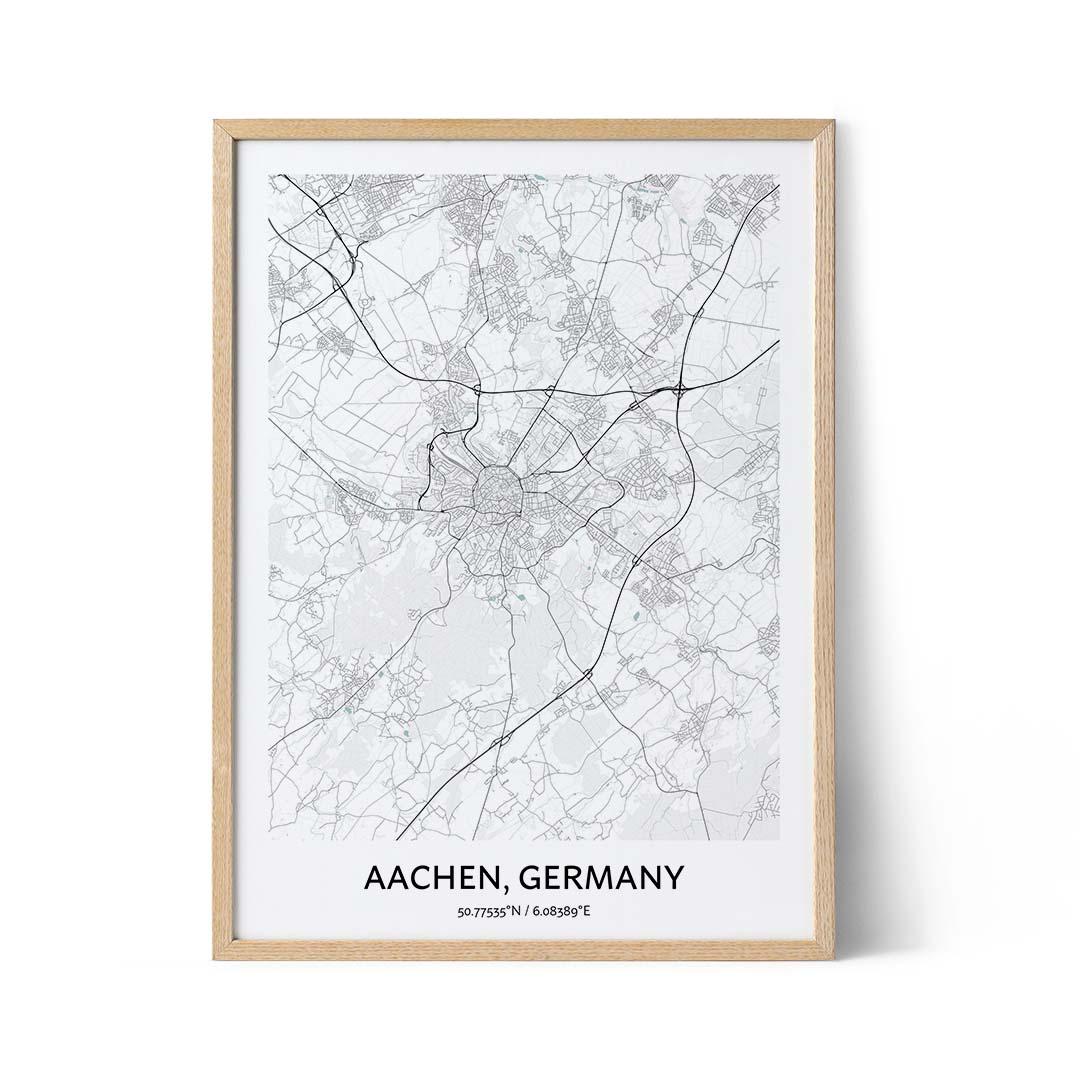 Aachen city map poster