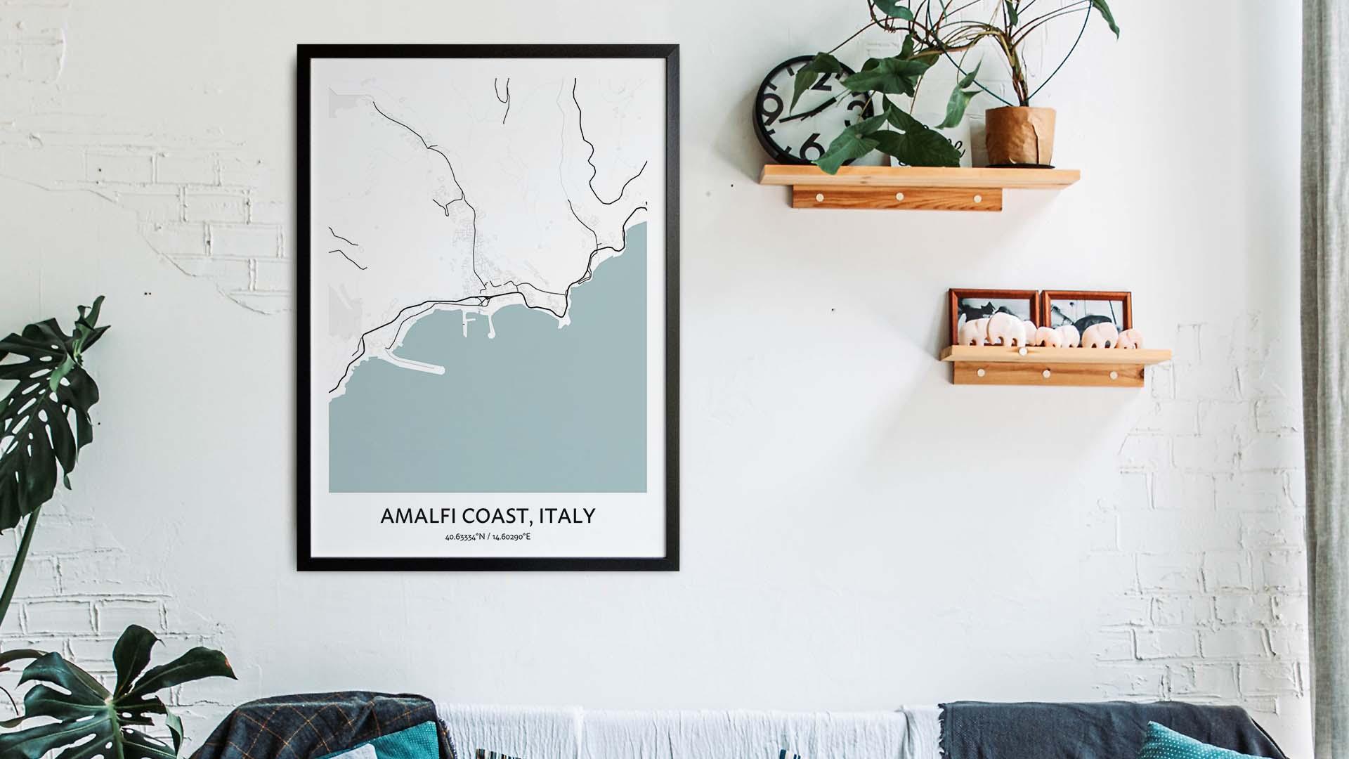 Amalfi Coast map art