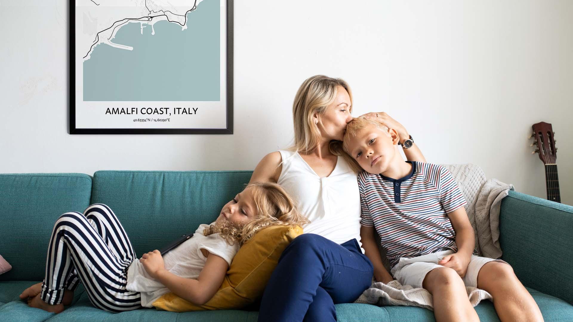 Amalfi Coast map poster