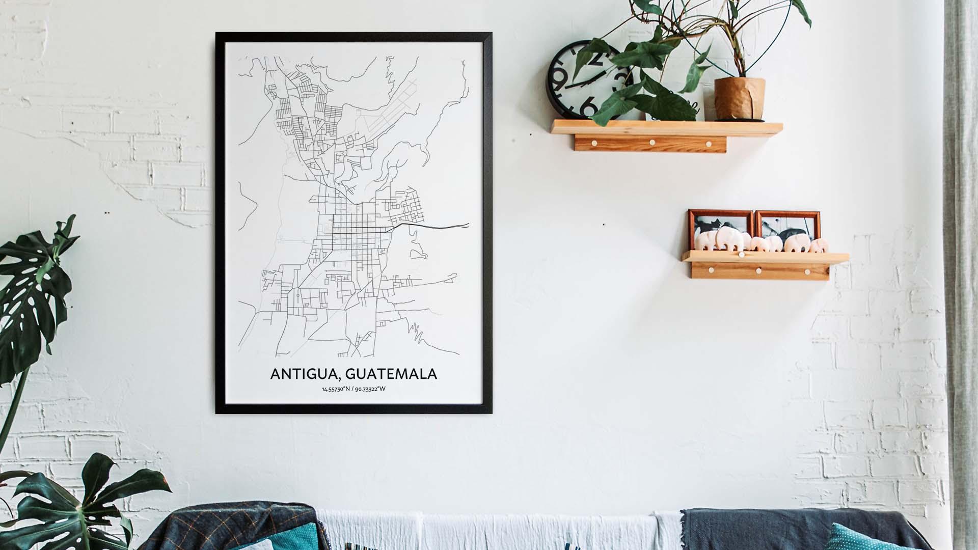 Antigua map art