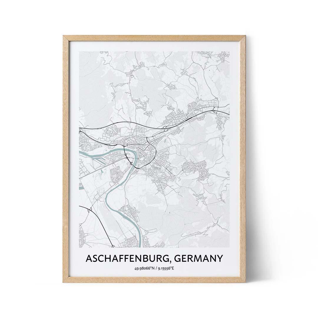 Aschaffenburg city map poster