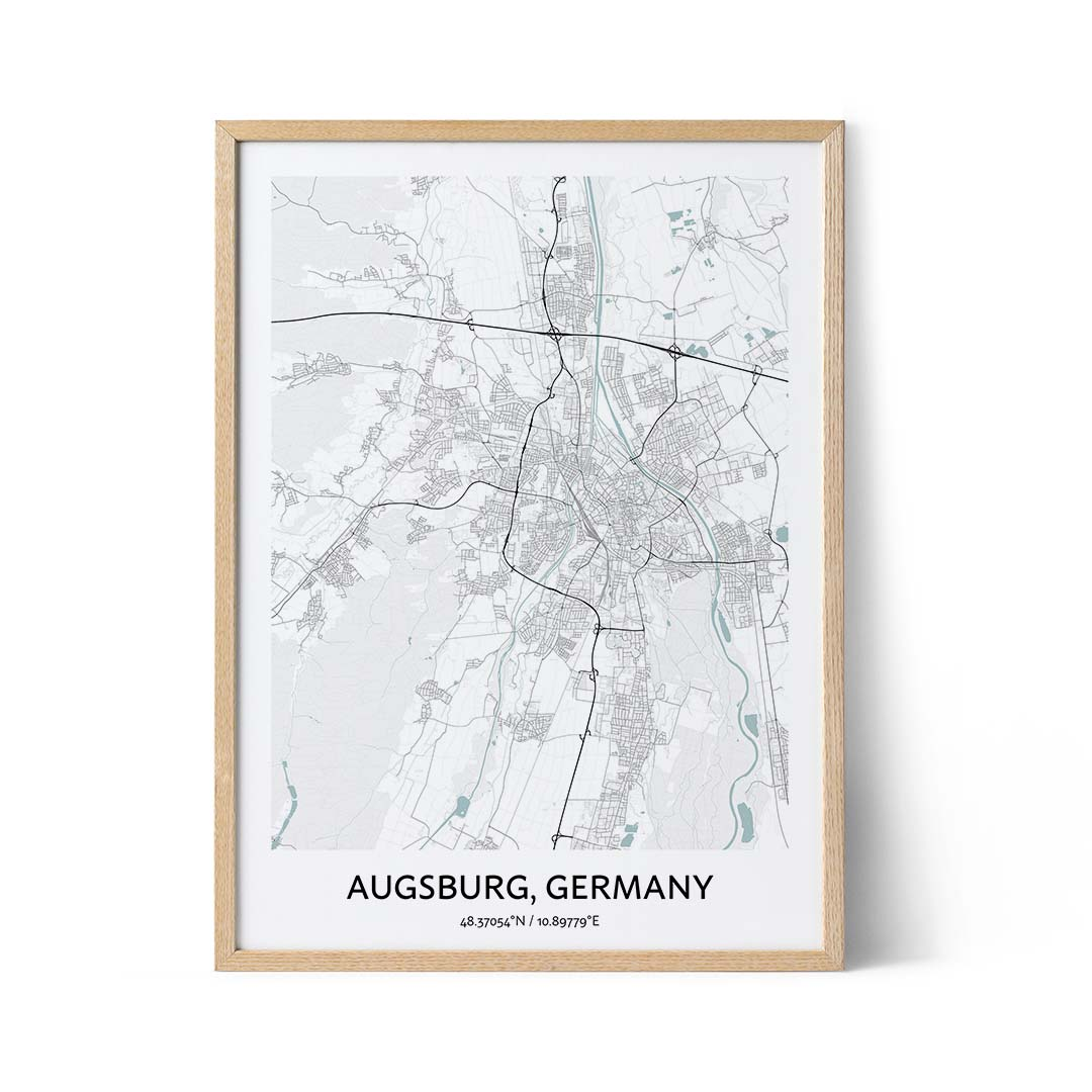 Augsburg city map poster