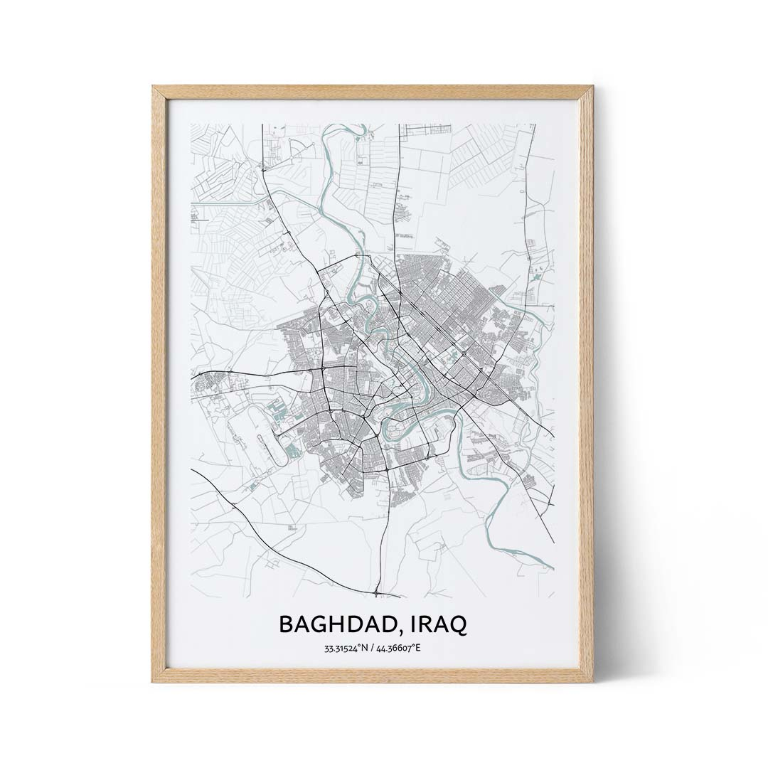 Baghdad city map poster