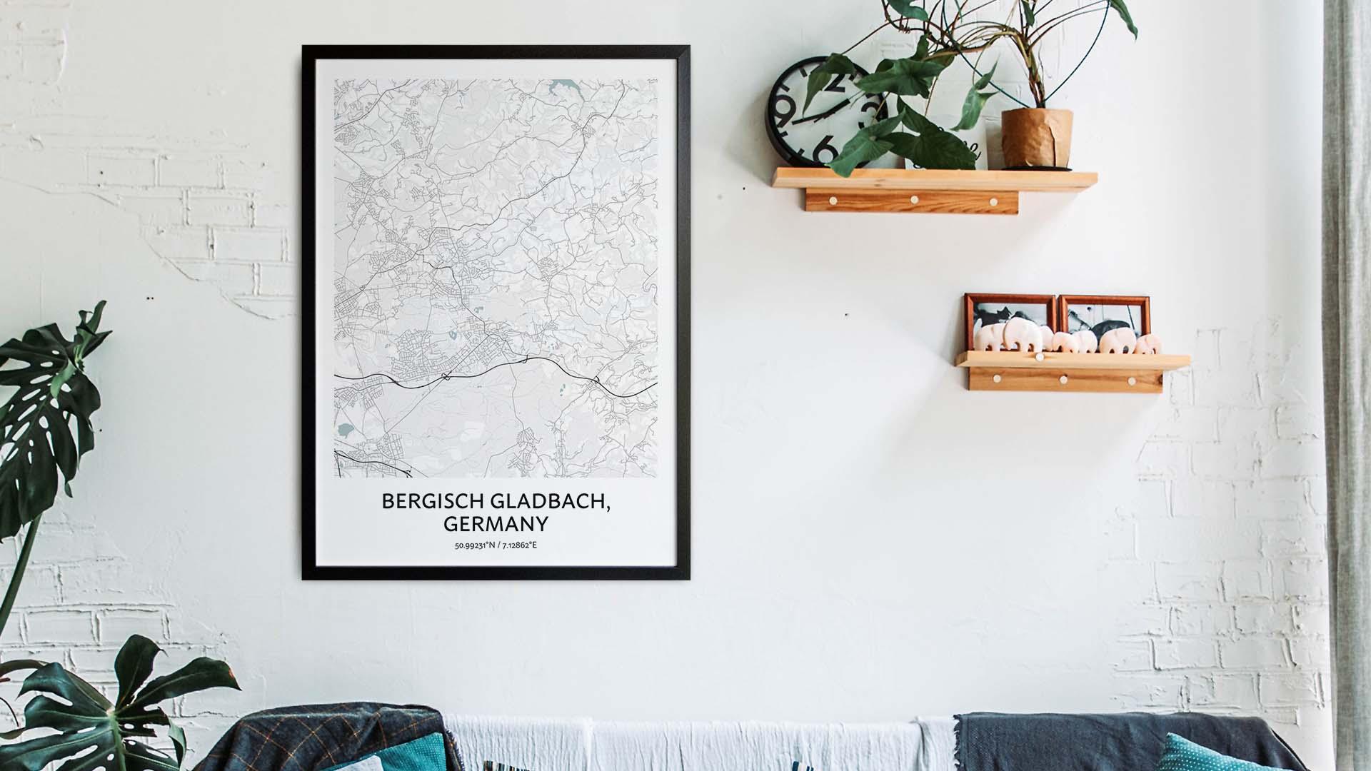 Bergisch Gladbach map art
