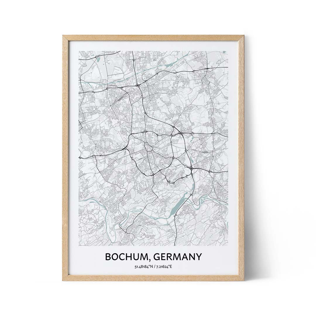 Bochum city map poster