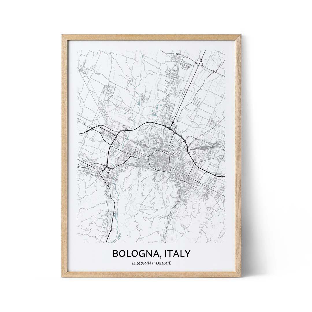 Bologna city map poster