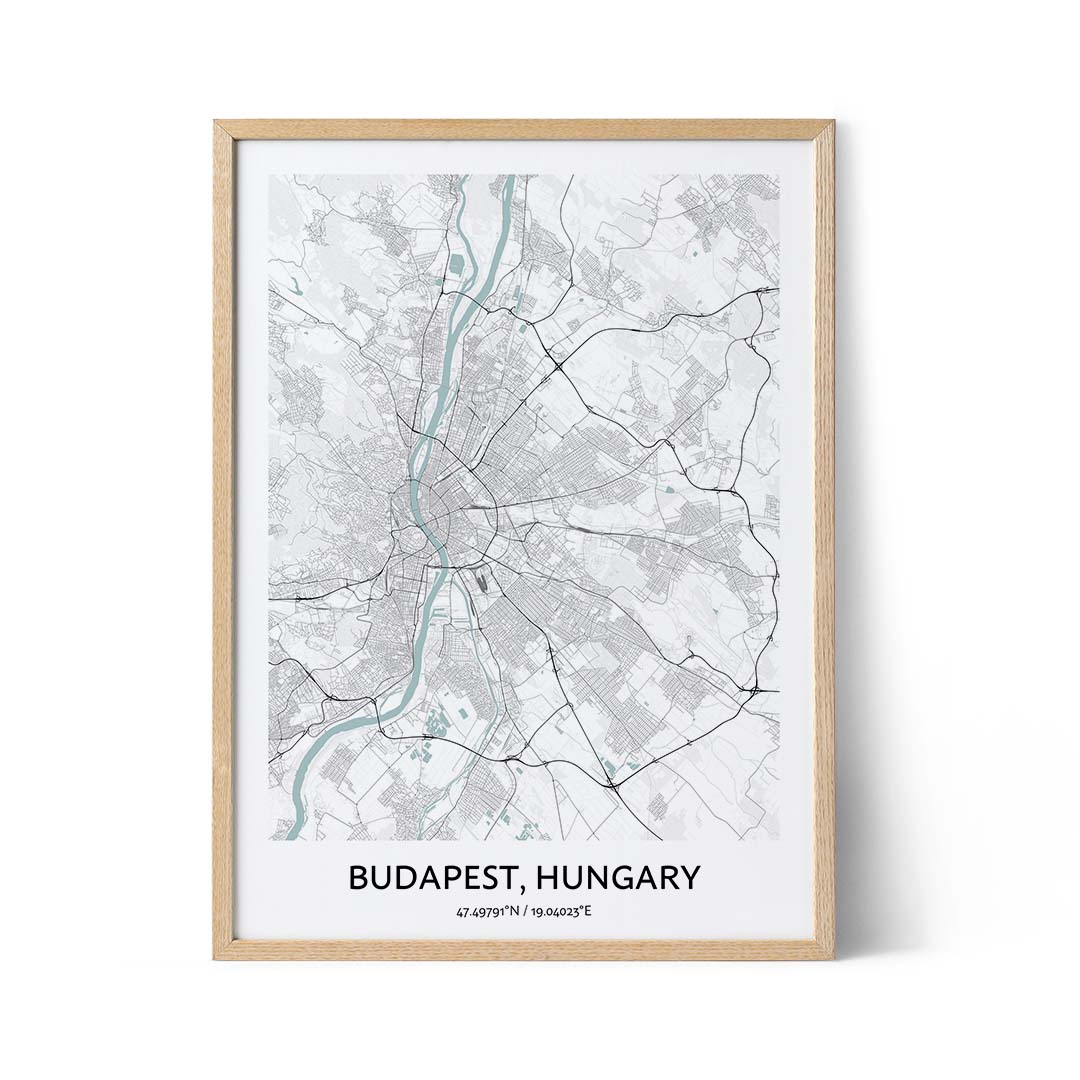 Budapest city map poster