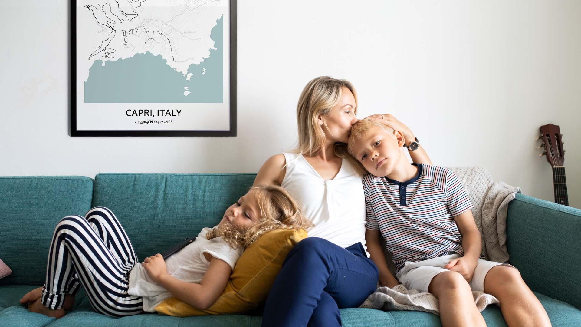 Capri map poster