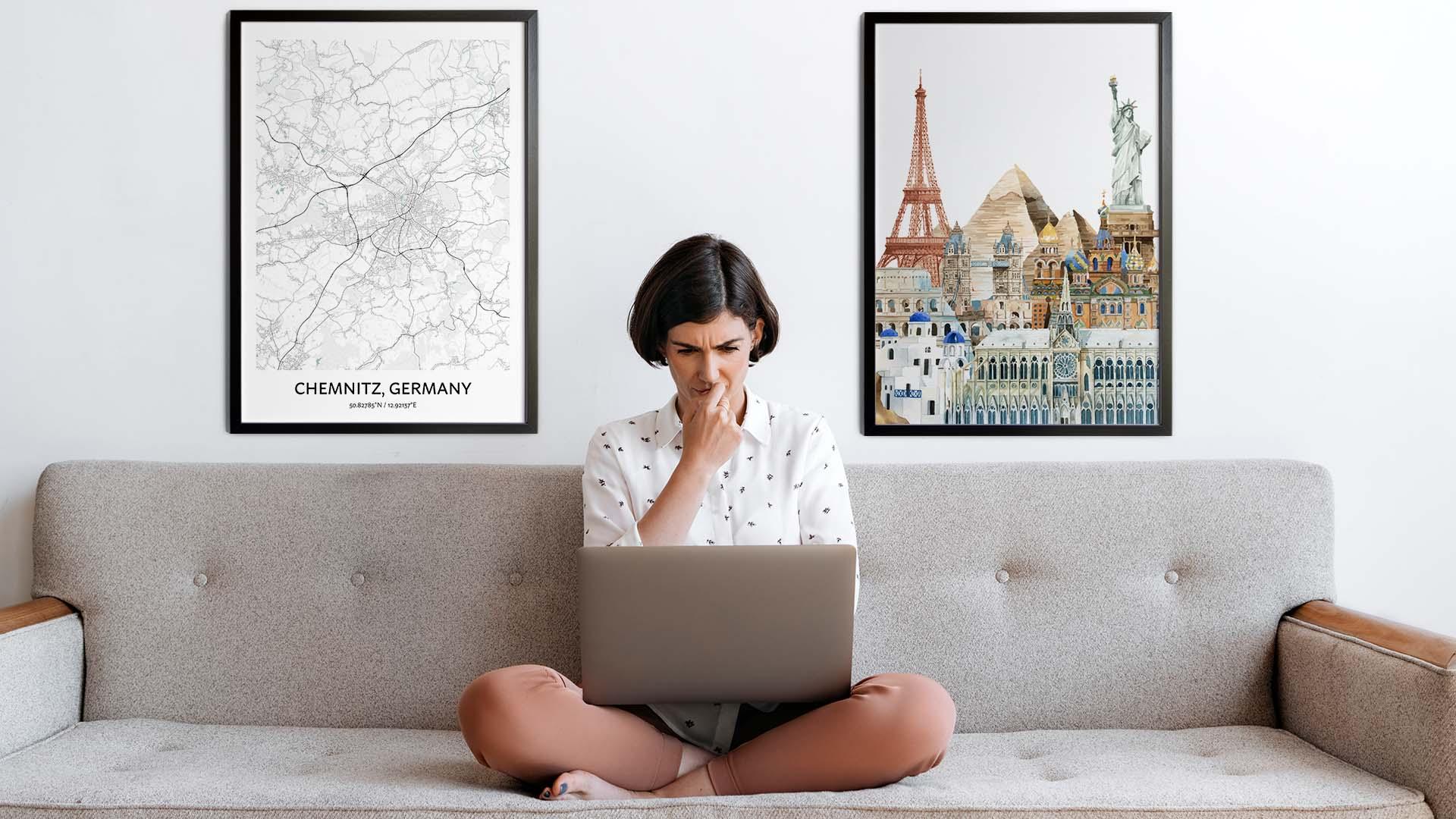 Chemnitz city map art