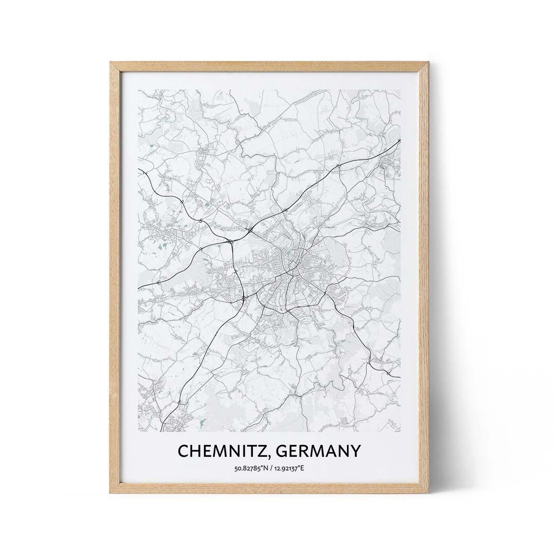 Chemnitz city map poster