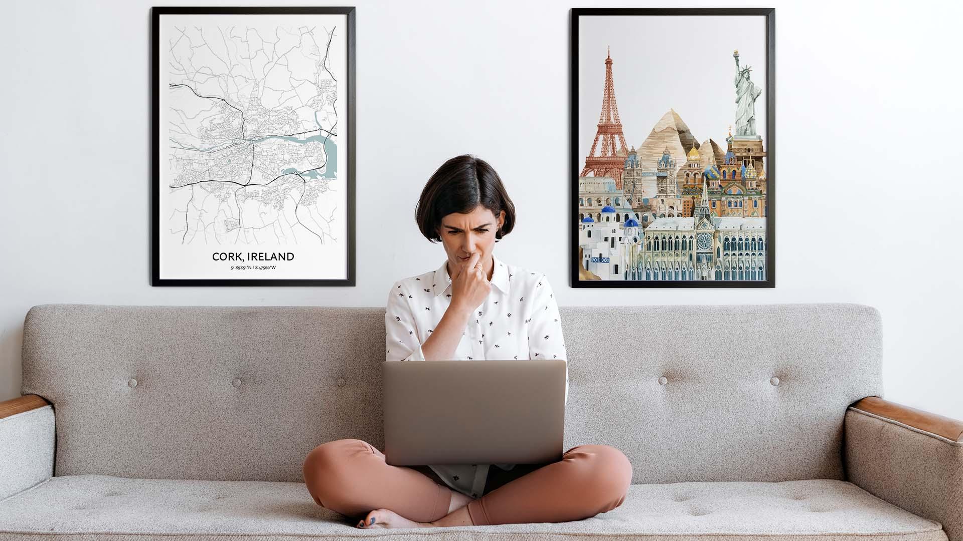 Cork city map art