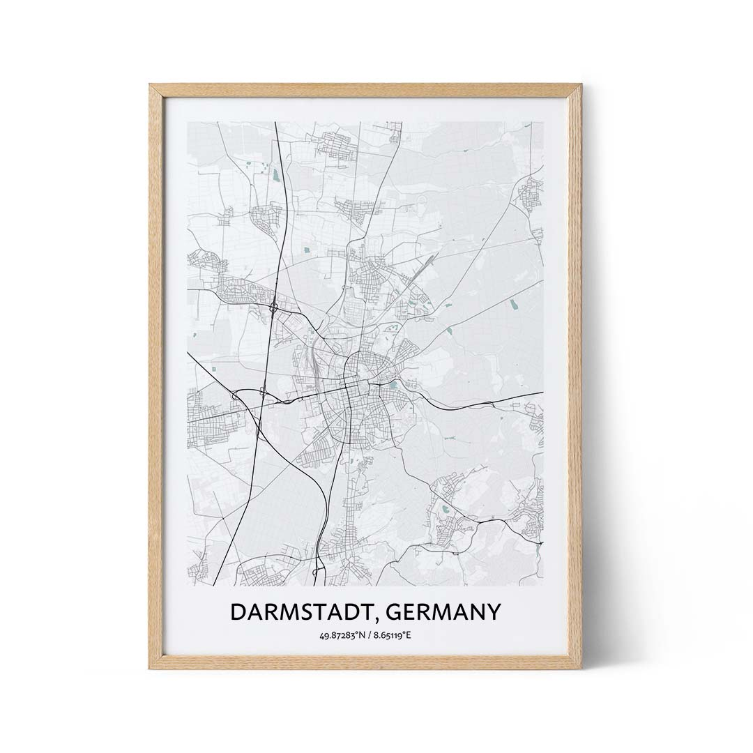 Darmstadt city map poster