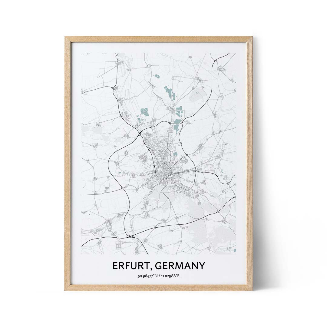 Erfurt city map poster
