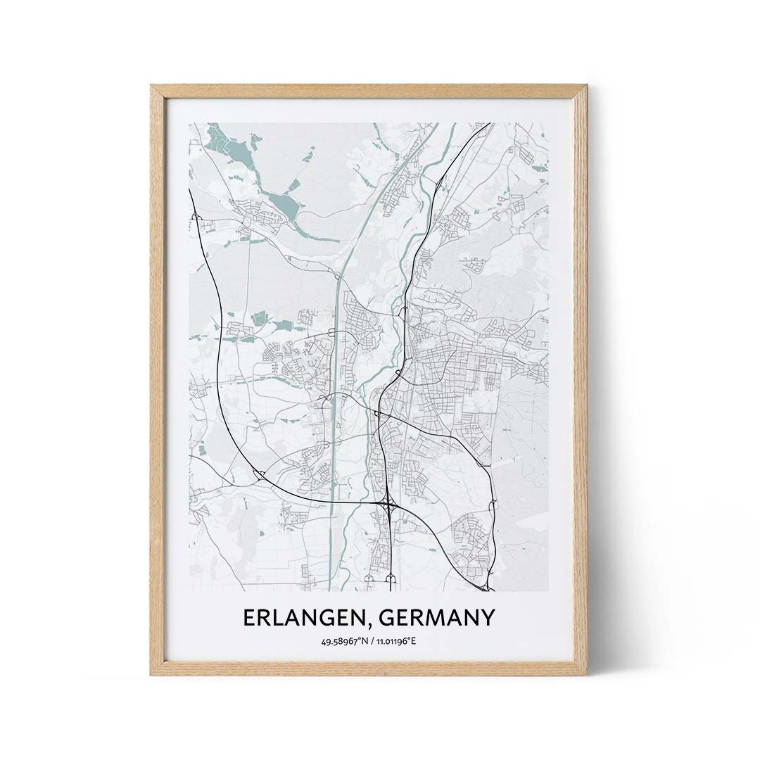 Erlangen city map poster