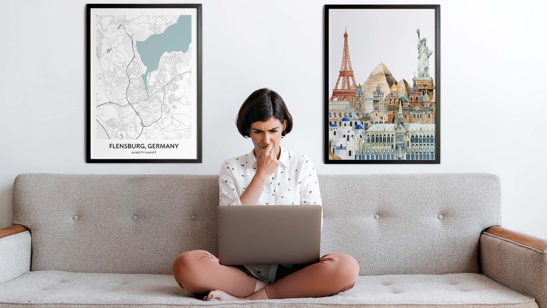 Flensburg city map art