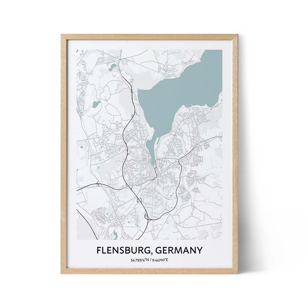 Flensburg city map poster