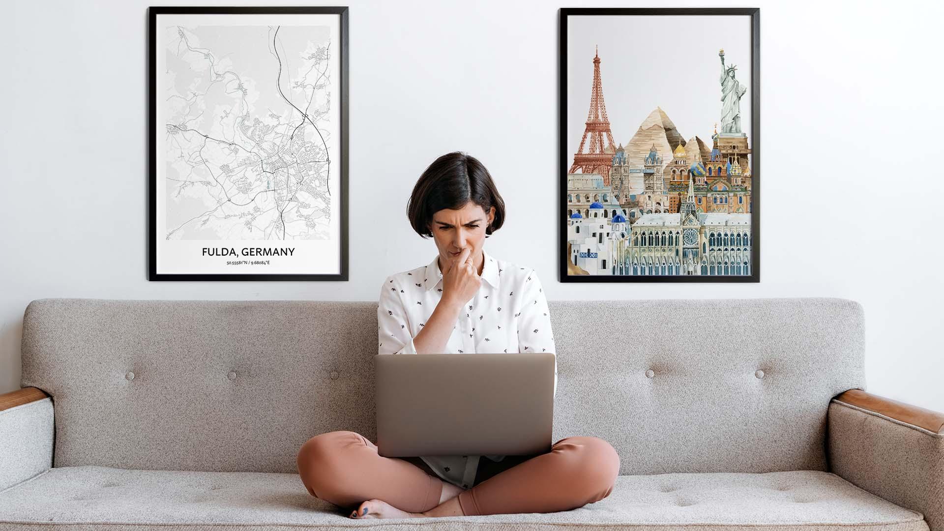 Fulda city map art