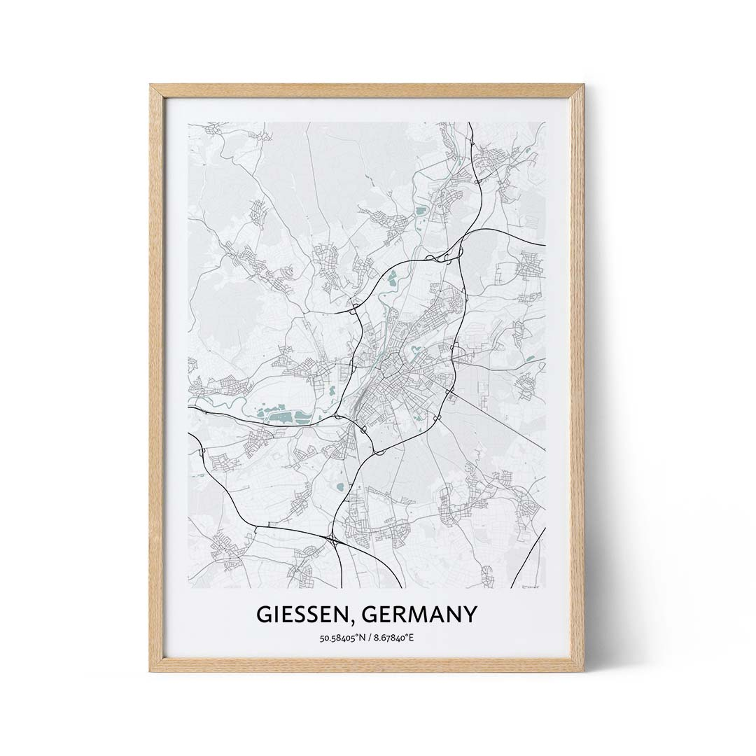 Giessen city map poster