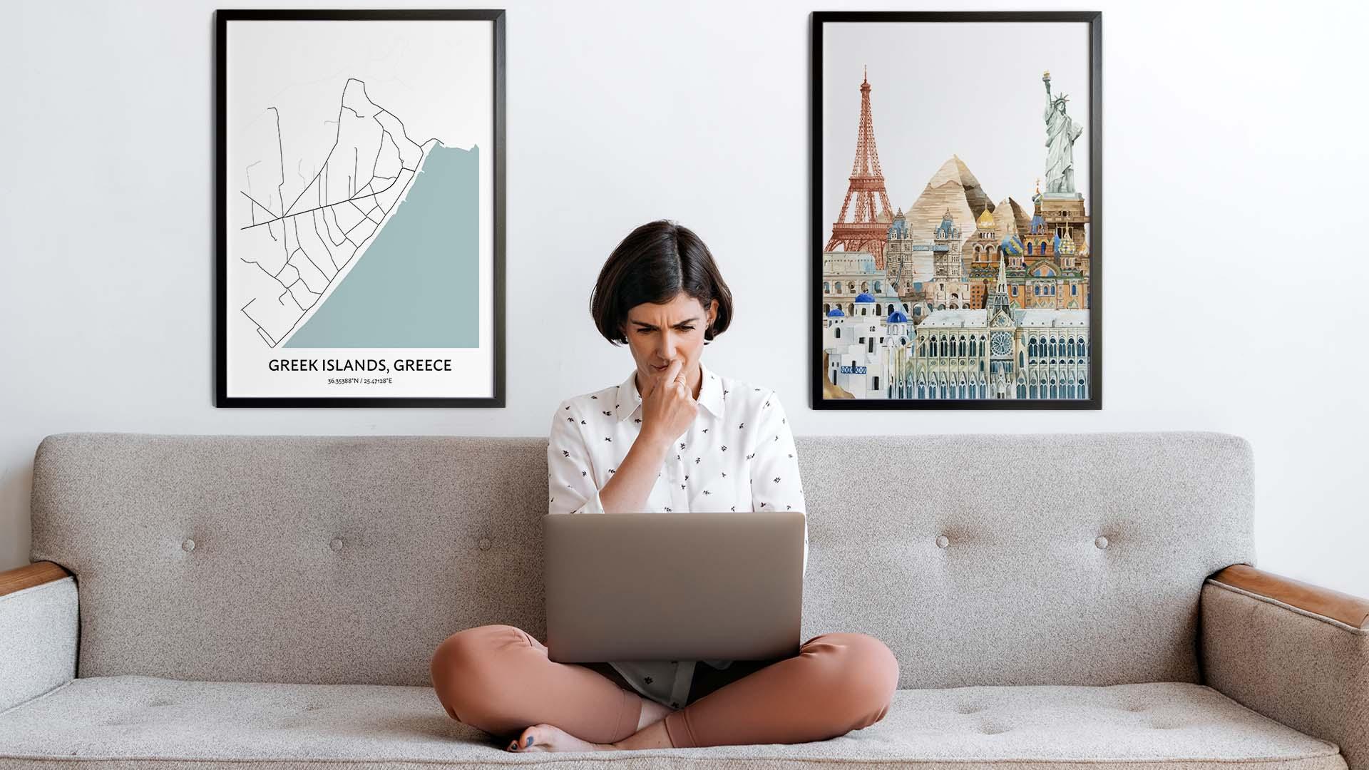 Greek Islands city map art