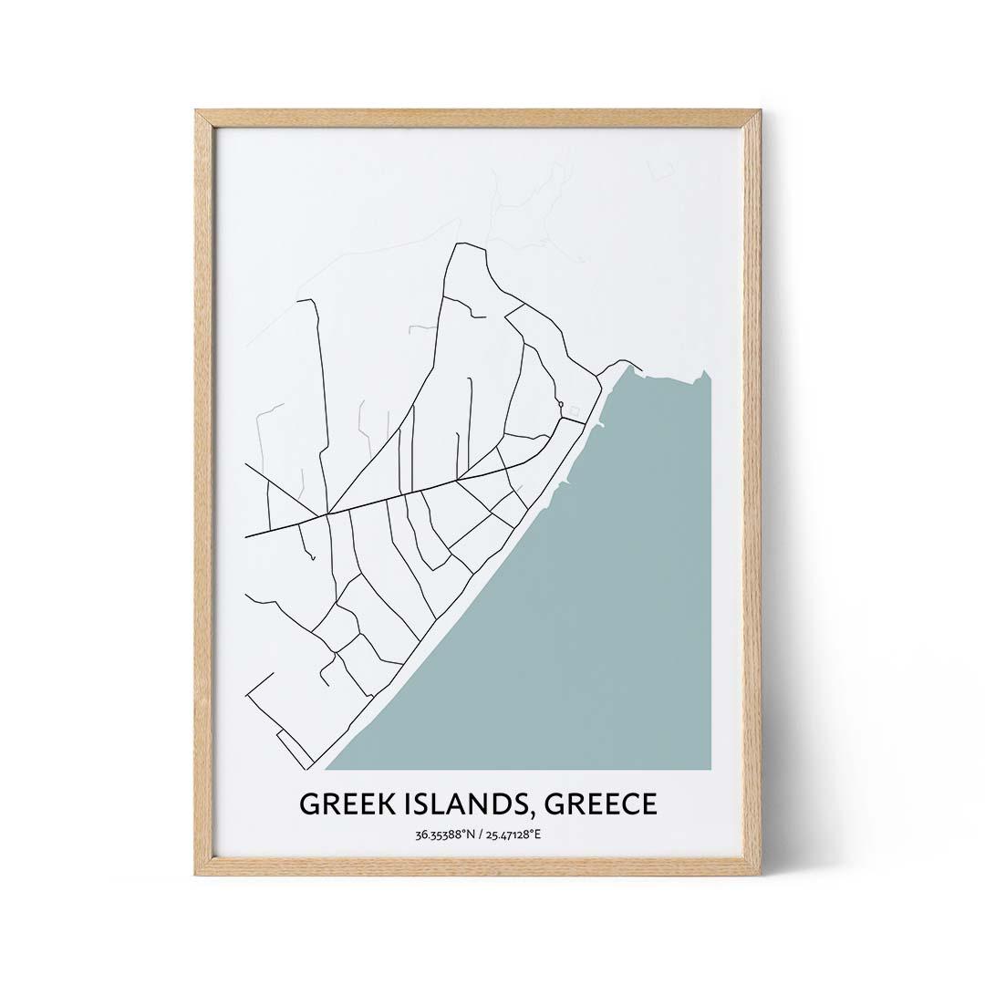 Greek Islands city map poster
