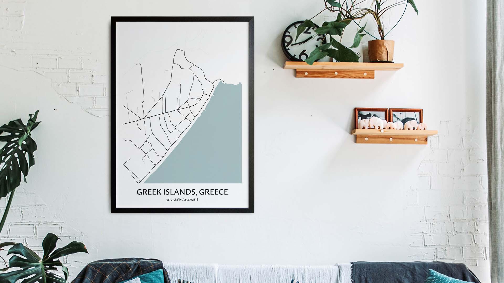 Greek Islands map art