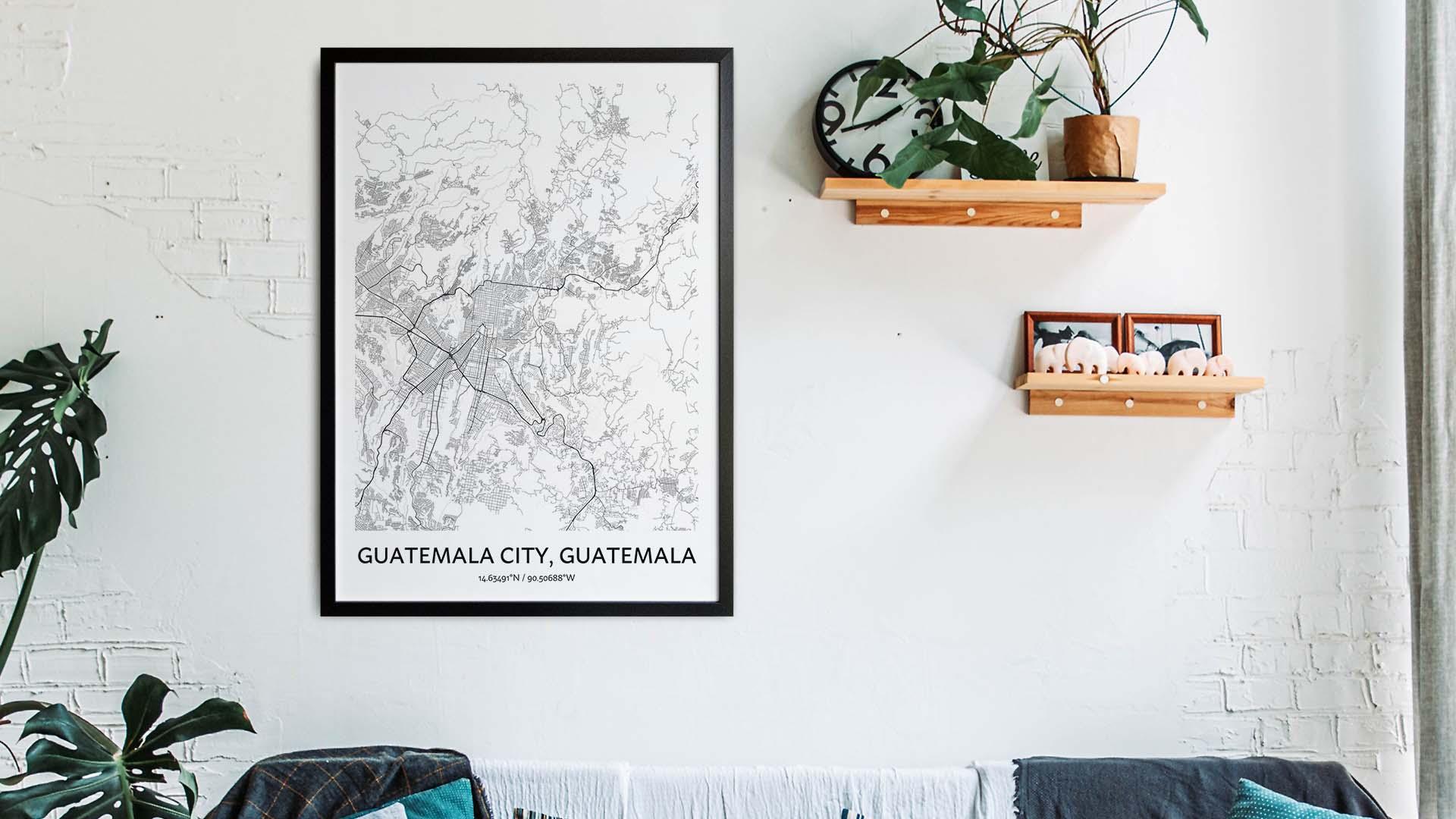 Guatemala City map art