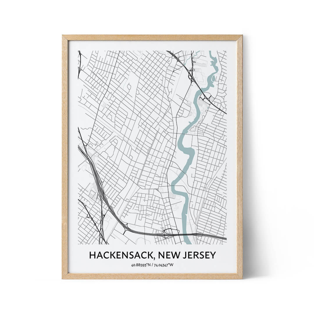 Hackensack city map poster