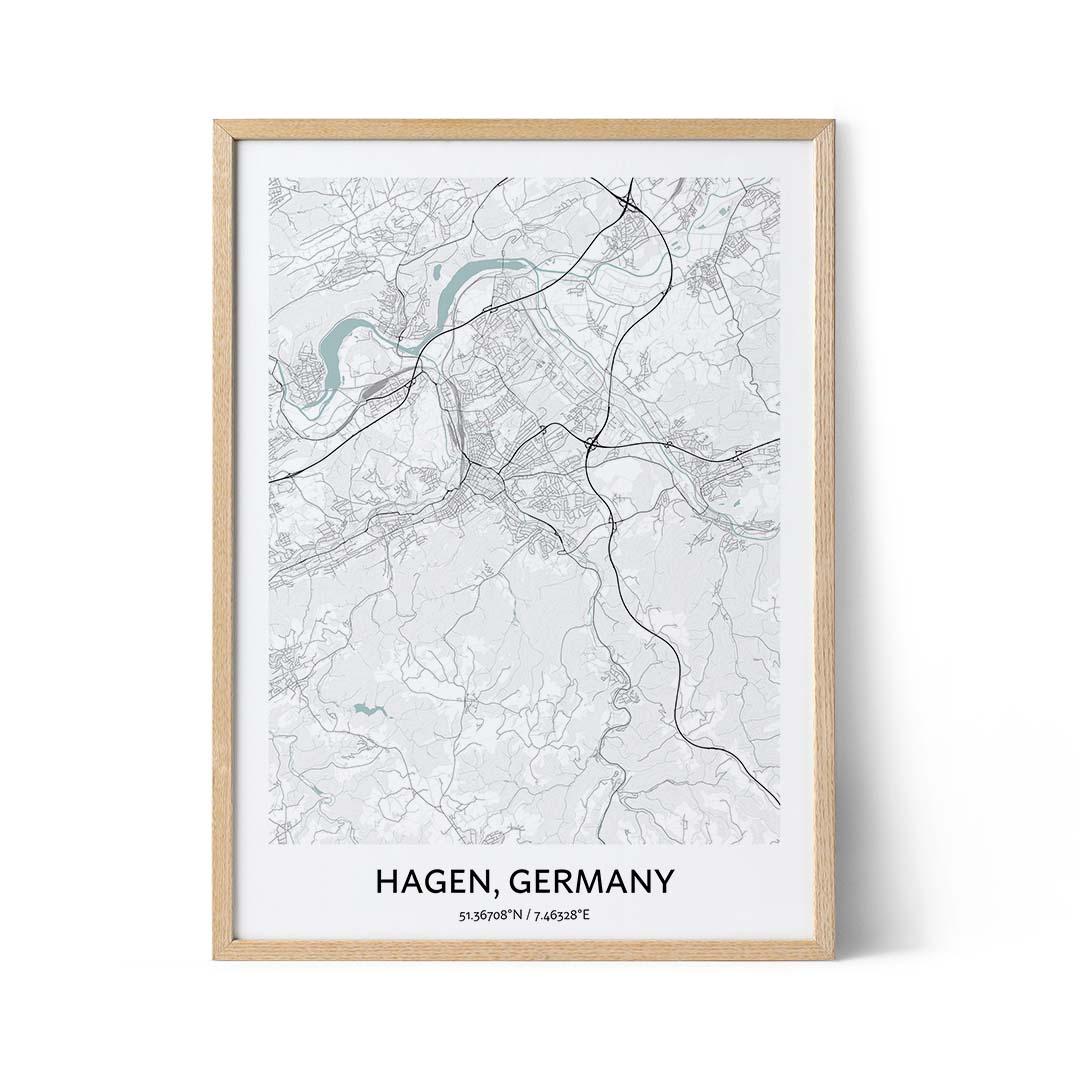Hagen city map poster
