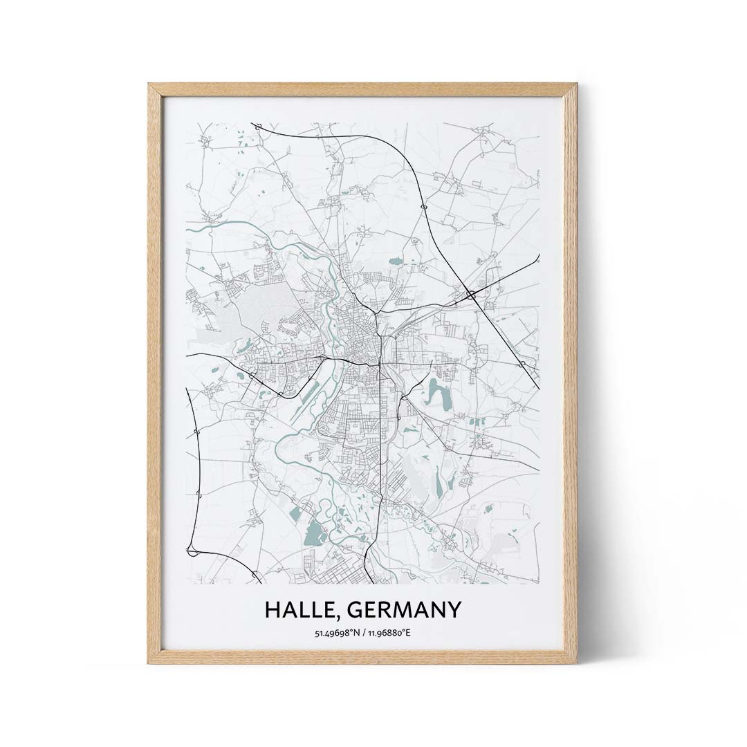 Halle city map poster