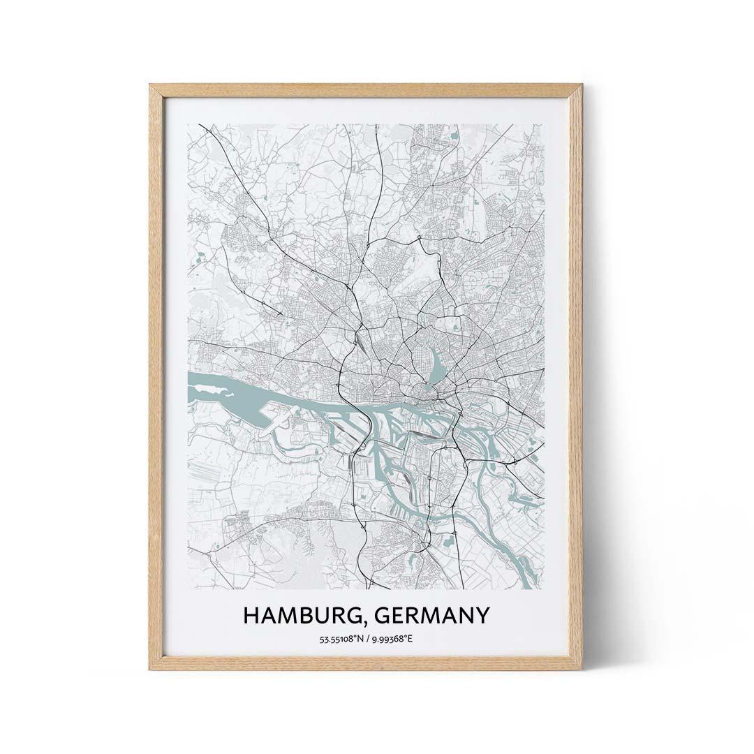 Hamburg city map poster