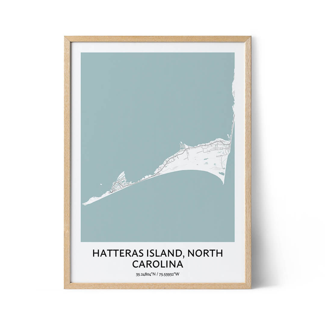 Hatteras Island city map poster