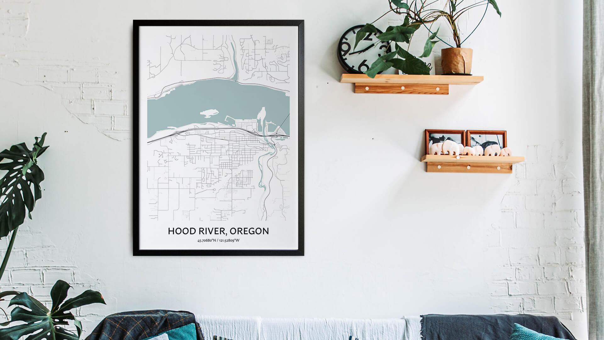 Hood River map art