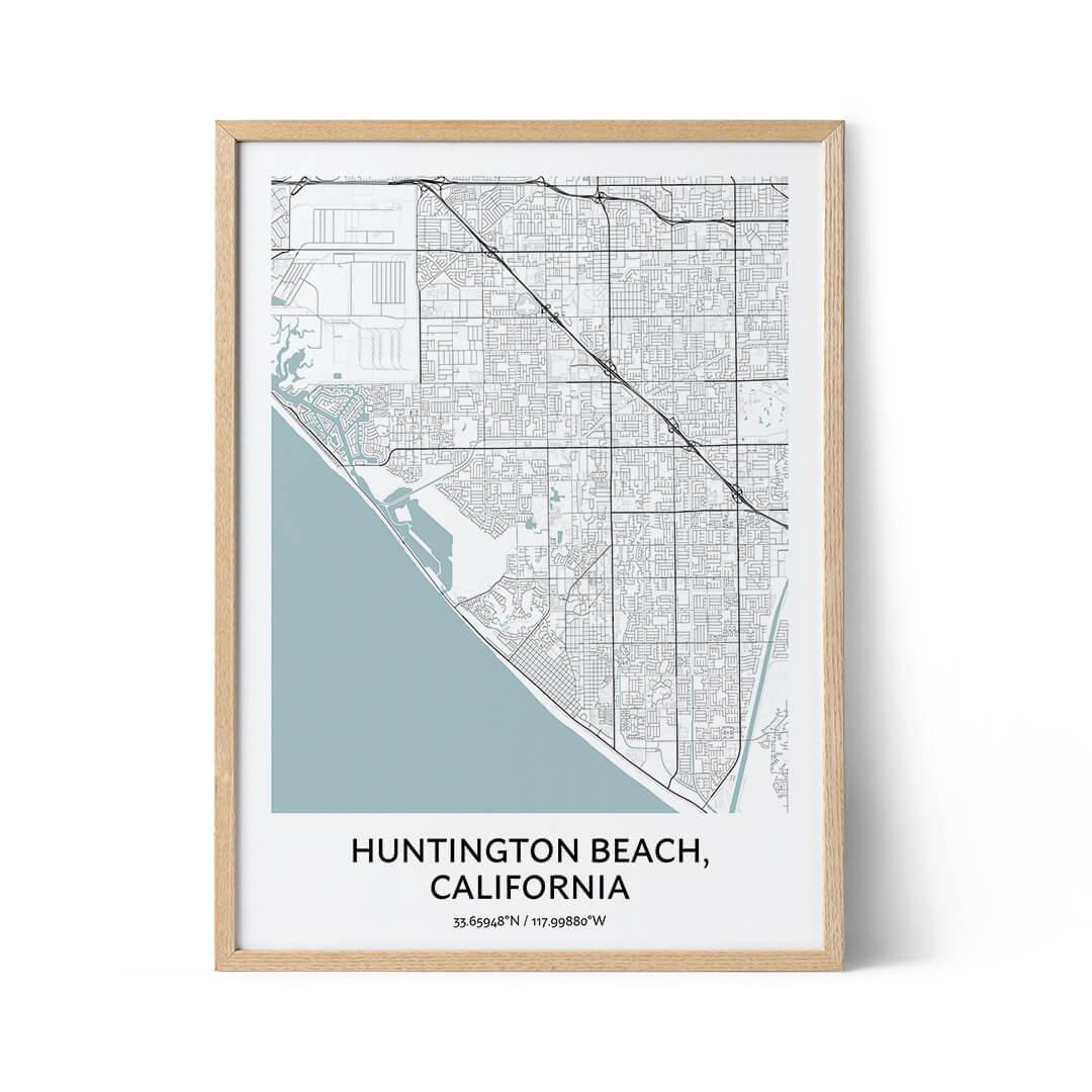 Huntington Beach city map poster