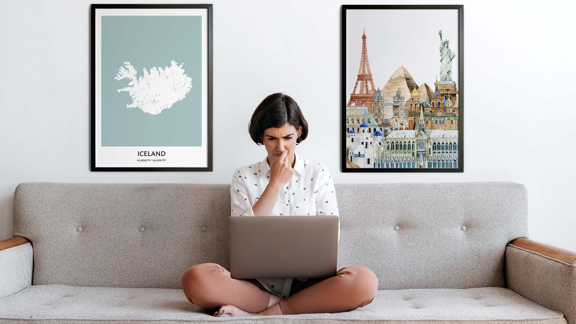 Iceland city map art